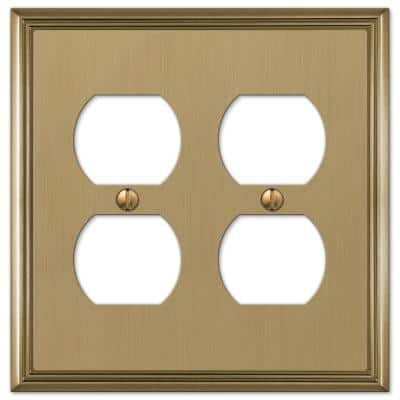 Rhodes 2 Gang Duplex Metal Wall Plate - Brushed Bronze