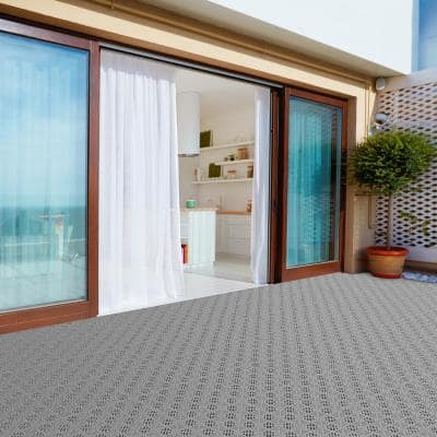 11.5 in. x 11.5 in. Grey Outdoor Interlocking Diamond Pattern Polypropylene Patio and Deck Tiles (Set of 30)