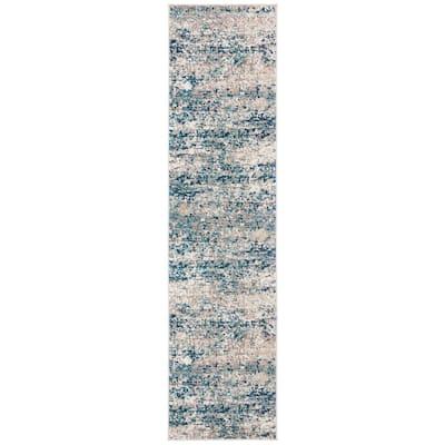 Madison Gray/Blue 2 ft. x 12 ft. Runner Rug