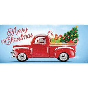 7 ft. x 16 ft. Red Truck Christmas-Christmas Garage Door Decor Mural for Double Car Garage