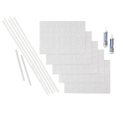 Rings 18 in. x 24 in. Matte White Vinyl Decorative Wall Tile Backsplash 15 sq. ft. Kit