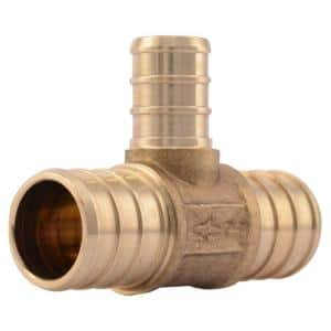 3/4 in. x 3/4 in. x 1/2 in. PEX Barb Brass Reducing Tee Fitting