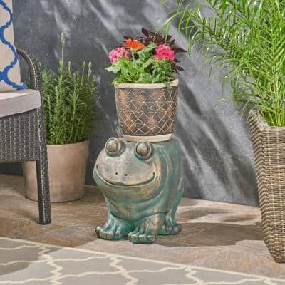 Jacobson Copper Patina Finish Stone Frog Garden Stool