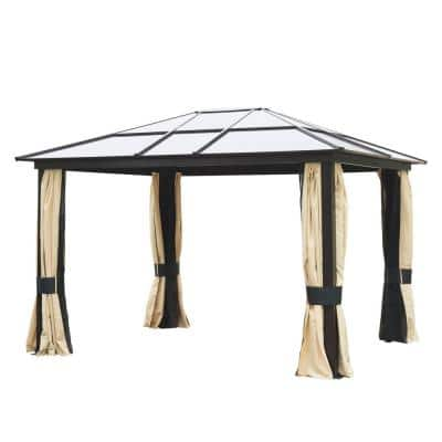12 ft. x 10 ft. Aluminum Frame and Polycarbonate Hardtop Gazebo Canopy Cover with Mesh Net Curtains and Durability