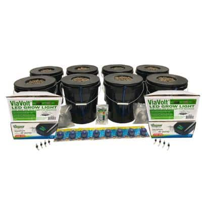 Deep Water Culture Hydroponic 8-Plant System with Two 65-Watt LED Grow Lights
