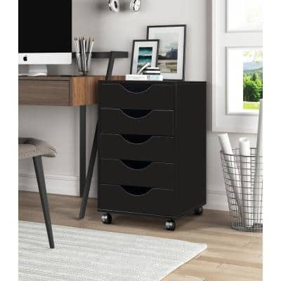 5-Drawer Home Office Black with Locking Casters Mobile File Cabinet