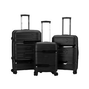 Linear 3-Piece Black Hardside Spinner Luggage Set