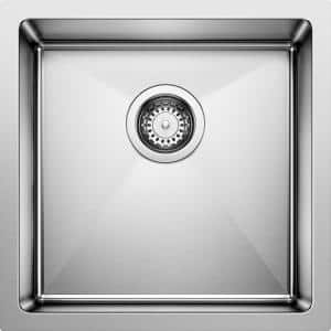 QUATRUS R15 18 Gauge Stainless Steel 17 in. Undermount Bar Sink