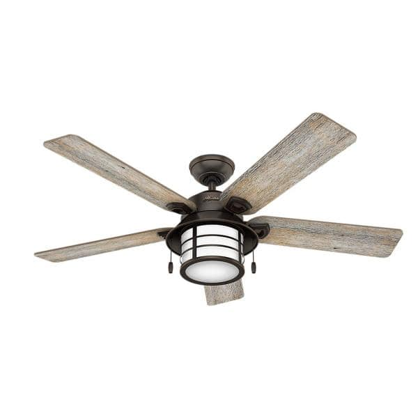 Hunter Key Biscayne 54 In Indoor Outdoor Onyx Bengal Ceiling Fan With Light Kit 59273 The Home Depot