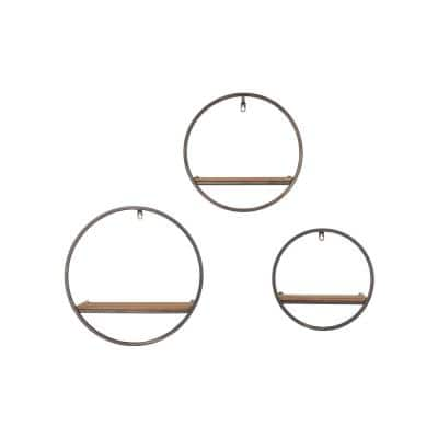 StyleWell Wood and Black Metal Wall-Mount Round Floating Shelf (Set of 3)