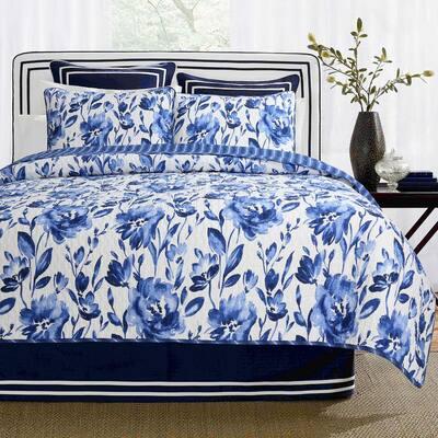 Sapphire 3-Piece Floral Water Color Royal Blue Flowers Cotton Queen Quilt Bedding Set