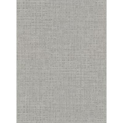 Montgomery Pewter Faux Grasscloth Pewter Wallpaper Sample