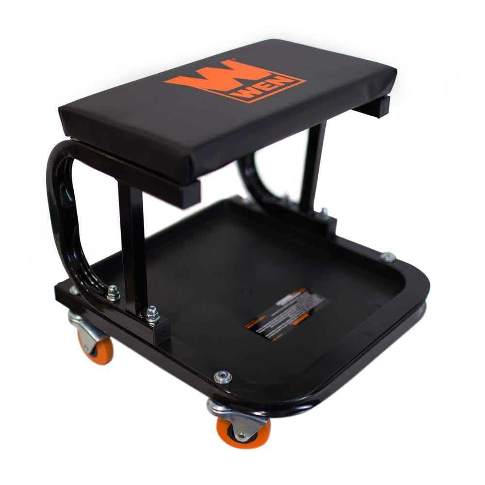 Wen 250 Lb Capacity Rolling Mechanic Seat With Onboard Storage 73011 The Home Depot