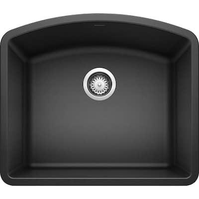 DIAMOND Undermount Granite Composite 24 in. Single Bowl Kitchen Sink in Anthracite
