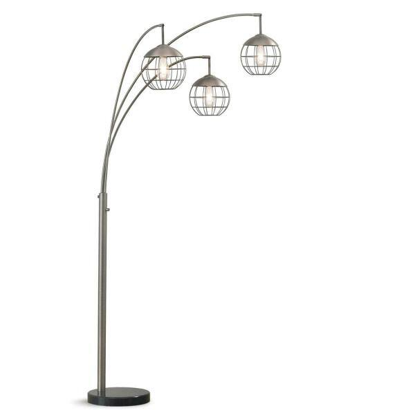 Homeglam Metro 83 In 3 Light Brushed, Corner Floor Lamp With Shelves Uk