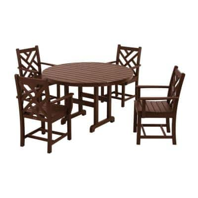 Chippendale Mahogany 5-Piece Plastic Outdoor Patio Dining Set