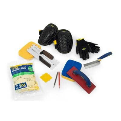 Tile Installation Kit with 1/2 in. x 1/2 in. x1/2 in. square-notch trowel (10-Piece)