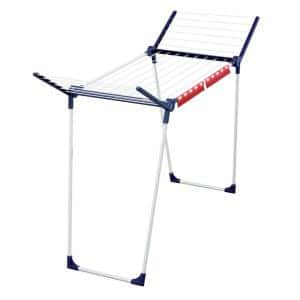 21.7 in. W x 41.3 in. H White and Blue Metal Garment Rack/Portable Wardrobe for Indoor/Outdoor