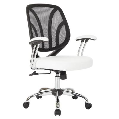 White Faux Leather Screen Back Chair with Chrome Padded Arms and Dual Wheel Carpet Casters