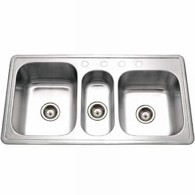 Premiere Gourmet Series Drop-In Stainless Steel 41 in. 4-Hole Triple Bowl Kitchen Sink