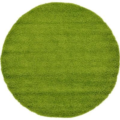 Solid Shag Grass Green 6 ft. Round Area Rug