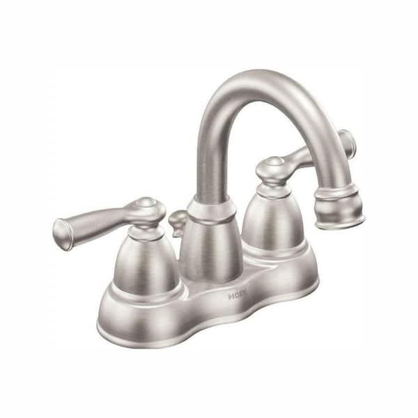 Moen Banbury 4 In Centerset 2 Handle High Arc Bathroom Faucet In Spot Resist Brushed Nickel Ws84913srn The Home Depot