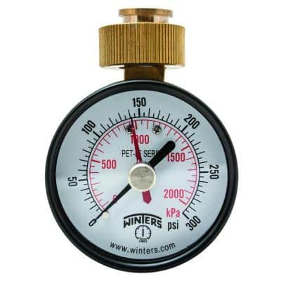 2.5 in. Lead-Free Brass Water Pressure Test Gauge with 3/4 in. Female Swivel Hose and Maximum Pointer, 0-300 psi/kPa