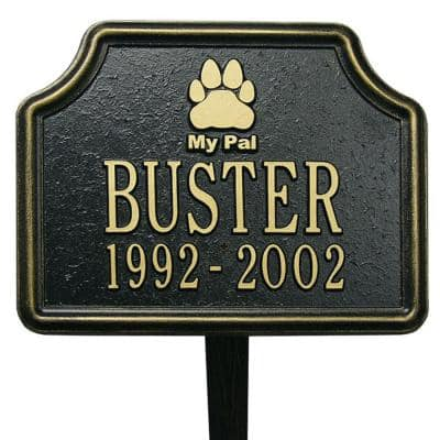 Black/Gold My Pal Dog Paw Two Line Lawn Marker