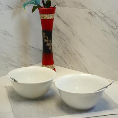 7 in. x 3.25 in. White Bistro Bowl (Set of 2)
