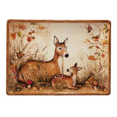 Pine Forest 14 in. Multicolored Earthenware Rectangular Platter