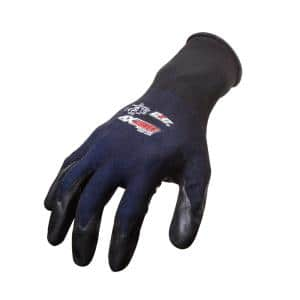 West Chester Blue Flat Nitrile 3 4 In Dip On Black Nylon Shell Dozen Pair Gloves Extra Large 715snc Xl The Home Depot