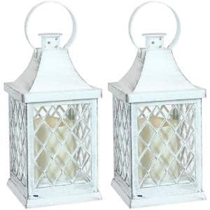 Ligonier 10 in. White Battery-Powered LED Candle Indoor Lantern (2-Pack)