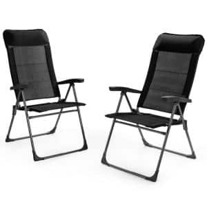 2-Piece Black Patio Folding Dining Chairs Portable Camping Headrest Adjust