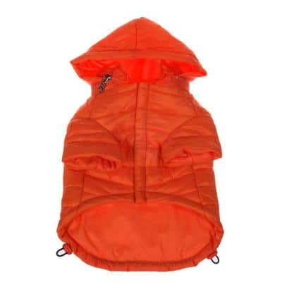 Small Burst Orange Lightweight Adjustable Sporty Avalanche Dog Coat with Removable Pop Out Collared Hood