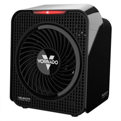 Velocity One 750-Watt, 2559 BTU Personal Electric Space Fan Heater, 2 Heat Settings, Advanced Safety Features, Black