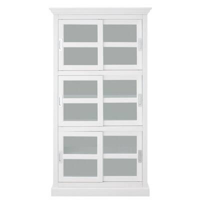 Lexington 72 in. White Wood 6-shelf Standard Bookcase with Sliding Doors