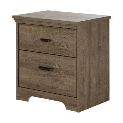 Versa 2-Drawer Weathered Oak Nightstand