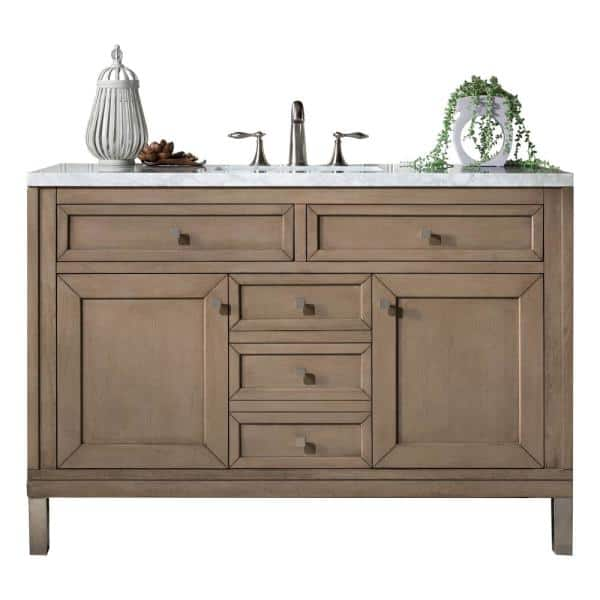 James Martin Vanities Chicago 48 In W Single Bath Vanity In Whitewashed Walnut With Marble Vanity Top In Carrara White With White Basin 305 V48 Www 3car The Home Depot
