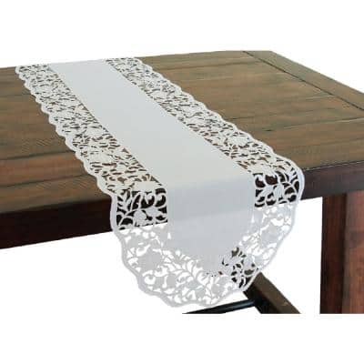 Somerset 15 in. x 54 in. White Embroidered Cutwork Table Runner