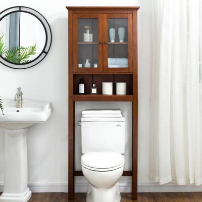 26 in. W x 9.25 in. D x 68.25 in. H Double Door Bathroom Space Saver in Brown