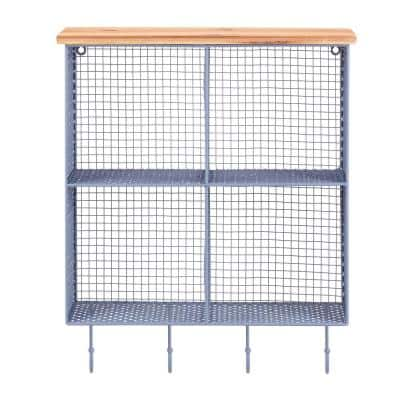 23 in. H x 19 in. W x 6 in. D Steel Blue Metal Wall-Mount Storage Shelf with 4 Hooks and Cubbies