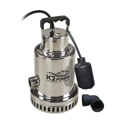 1/2 HP Stainless Steel Submersible Sump Pump with Piggyback Switch