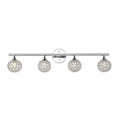 Maeve 32.5 in. 4-Light Iron/Glass Contemporary Glam LED Vanity Light, Chrome