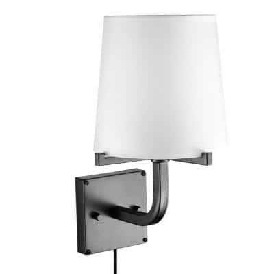 Valerie 1-Light Dark Bronze Plug-In or Hardwire Wall Sconce with White Fabric Shade
