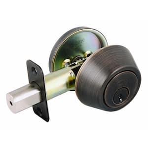 Single Cylinder Brushed Bronze Deadbolt