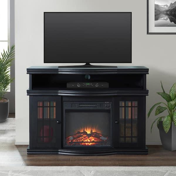 Black Electric Fireplace Tv Stand, Black Media Storage Tv Stand And Electric Fireplace