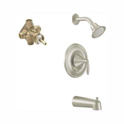 Eva Single-Handle 1-Spray Posi-Temp Tub and Shower Faucet with Eco-Performance in Brushed Nickel (Valve Included)
