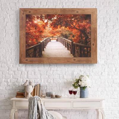 Fall Footbridge Photography Framed Canvas Art