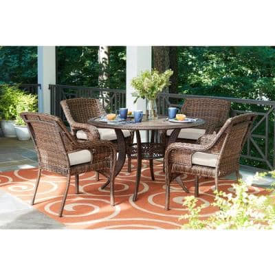 Cambridge 5-Piece Brown Wicker Outdoor Patio Dining Set with CushionGuard Almond Tan Cushions