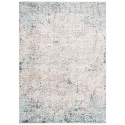 Dream Grey/Blue 5 ft. x 8 ft. Abstract Distressed Area Rug